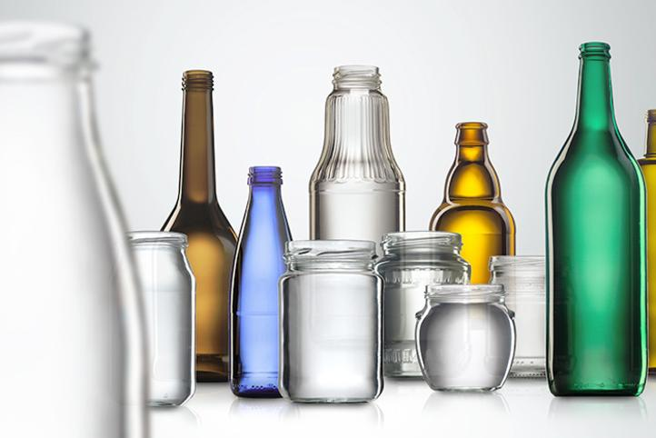 Empty glass bottles and glass containers